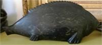 NOAH TUKAI PAULOSIE, listed Inuit artist (Inukjuak, Port Harrison), large fish, Disc # and syllabics