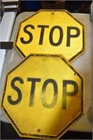 Pair Early Metal Stop Signs