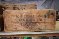 Early High Explosives Danger Wooden Box