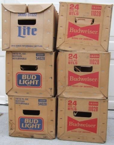 6 Vintage Cardboard Beer Boxes Budweiser Miller Go2guysauction Com