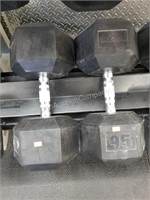 Pair of Rogue 95 lbs. Rubber Coated Dumbbells