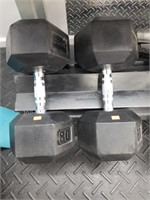 Pair of Rogue 80 lbs. Rubber Coated Dumbbells