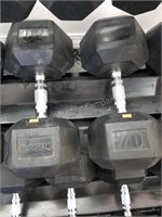 Pair of Rogue 70 lbs. Rubber Coated Dumbbells