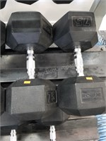 Pair of Rogue 75 lbs. Rubber Coated Dumbbells
