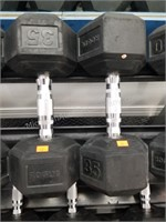 Pair of Rogue 35 lbs. Rubber Coated Dumbbells
