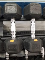 Pair of Rogue 25 lbs. Rubber Coated Dumbbells