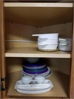 (3) Corningware Bowls &  Misc Plasticware