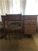 Wooden Office Desk with Glass Top and Chair