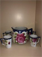 Hand Painted Nippon Pitcher and Cups