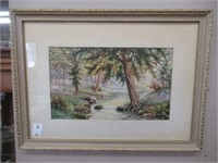 W.E. Cantelon framed water colour painting