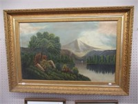 "Mountain scene oil on canvas painting 44""x30"""