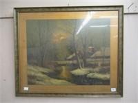 "Early framed print 25""x21"""