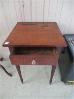 """Early tiger stripe table with drawer 18""""x26""""T"""