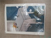Box of new twin bed sheet sets etc