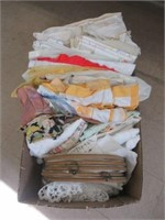 Box of linens etc