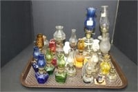 Tray of miniature oil lamps