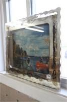 Fishing print on glass