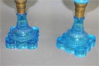 2 blue star oil lamps - 19""