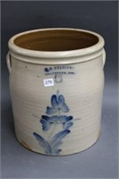 W.E. Welding Brantford 5 gal bluw flower crock