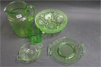 Green depression pitcher, bowls, etc.