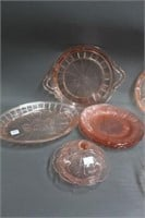 Group of pink depression glassware