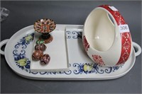 Group of baskets, plates & eggs
