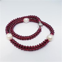 Silver Garnet Pearl 18 Inches Necklace (~weight