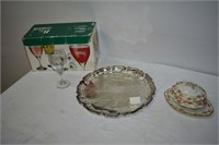 Limoges Gravy Pitcher, Silver-Plate Platter,