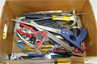Box of Assorted Tools - Hammers, Pliers, Staple