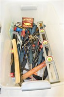 Plastic Tote of Assorted Tools - Screwdrivers,