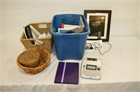 Tote and Basket of Label Maker, DVD's, Books,