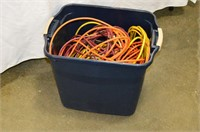 Tote of Assorted Electrical Cords