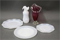 2 vases & 3 plates