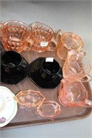 Tray of pink depression & cups & saucers