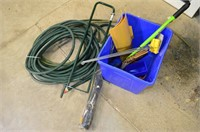 Tub of Garden Tools, Hoses, Weed Barrier