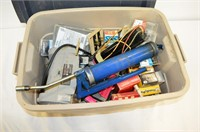 """Tub of Assorted Tools and Hardware - 5"""" bench"""