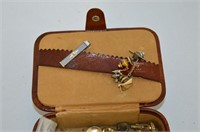Dresser Box with Contents - Tie Clips, etc.