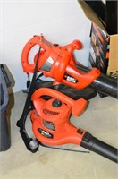 (2) B&D Leaf Blowers with Tote and Box of