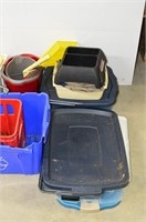 Large Grp, of Plastic Storage Totes and Misc. Lids