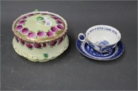 Covered dish, cup & saucer