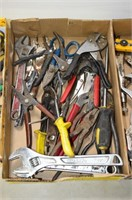Bucket of Assorted Tools - Pipe Wrench,
