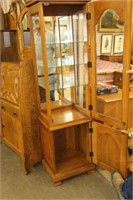 Maple lighted curio cabinet