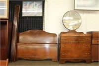Walnut double bed & dresser with mirror