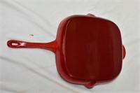 "Red Enamel Cast Iron Pan 12"" Wide"