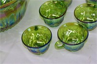Carnival Glass Punch Bowl, (12) Cups & Ladle