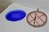 """(2) Depression Glass Trays 11"""" & 12"""""""