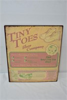 "Metal Tiny Toes Shoe Co. Sign 13""x11"""