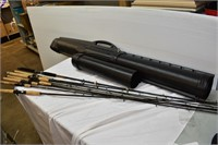 Large Grouping of Fishing Rods with Case