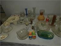 Large Grouping of Dishes, Vases, Avon, etc.