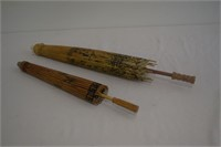 (2) Rice Paper Hand-Painted Japanese Parasols